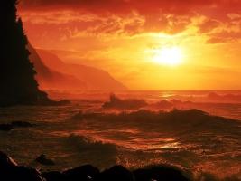1600x1200-sunset-landscapes-nature-coast-waves-orange-sky-wesen-desktop-hd-wallpaper