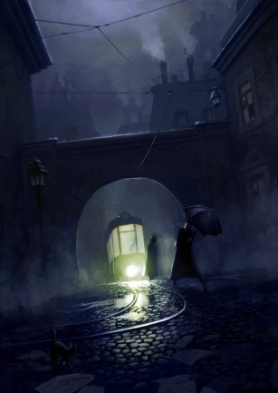 dark alley archway tram illustration